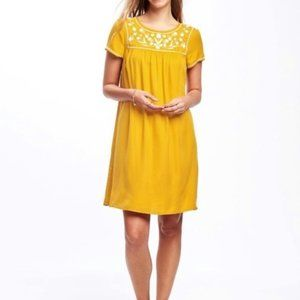 Old Navy Yellow Embroidered Baby Doll Dress Sz XS